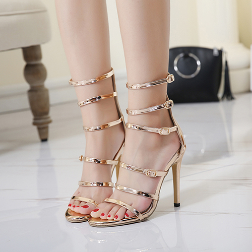 Sandálias PU Stiletto Super High Fashion Gladiador