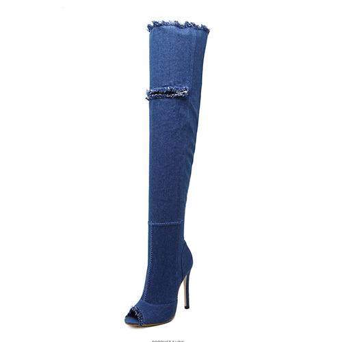 Elegante Round Toe Hollow-out Stiletto Super salto alto Blue Denim Tela sobre as botas de joelho