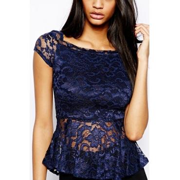 Charming O Neck Short Sleeves Falbala Design Dark Blue Bud Silk T-shirt