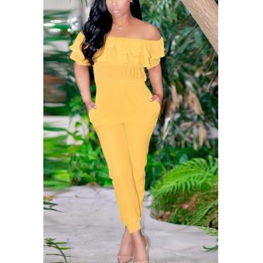Euramerican Bateau Neck Short Sleeves Falbala Design Yellow Cotton One-piece Jumpsuits