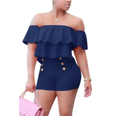 Charming Boat Neck Short Sleeves Falbala Design Navy Blue Healthy Fabric One-piece Skinny Jumpsuits