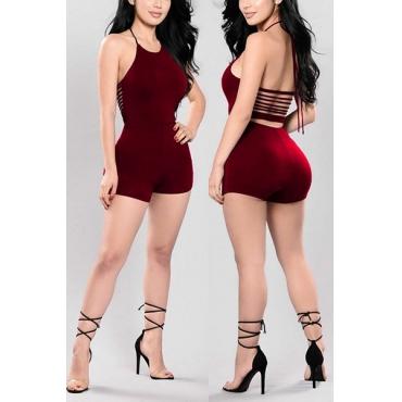 Sexy Redonda Pescoço Backless Vinho Vermelho Qmilch One-piece Skinny Jumpsuits