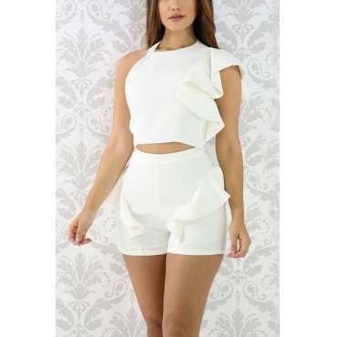 Euramerican Round Neck Backless White Qmilch Two-piece Shorts Set