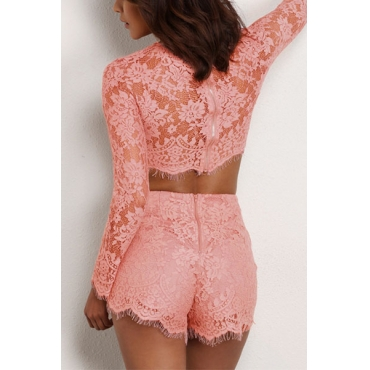 Charming Round Neck Long Sleeves Lace Trim Patchwork Pink Two-piece Shorts Set