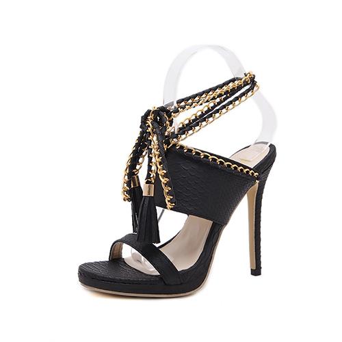 Trendy Point Peep Toe Chain Decorative Stiletto Super High Heel Black PU Ankle Strap Sandals