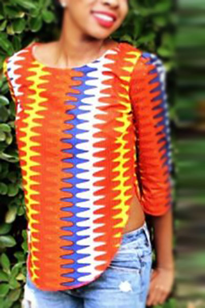 Stylish Round Neck Short Sleeves Printed Side Split Red-yellow Polyester Shirts