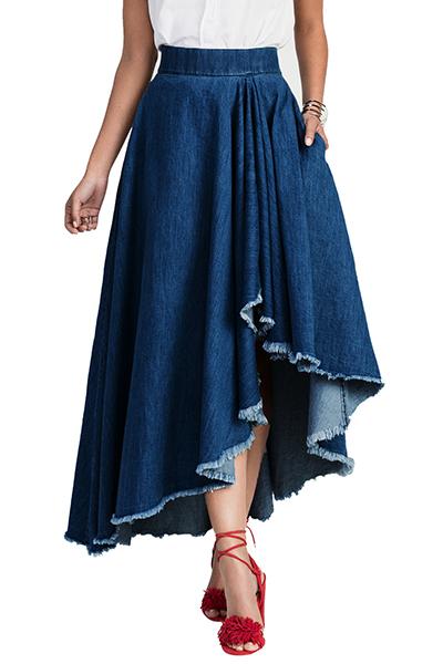 Elegante cintura elástica asimétrica azul Denim tobillo longitud faldas