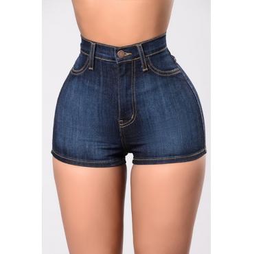 Stylish High Waist Navy Blue Cotton Shorts
