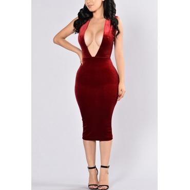 Сексуальная глубокая V шеи без рукавов Backless красный бархат оболочкой платье длиной до колен