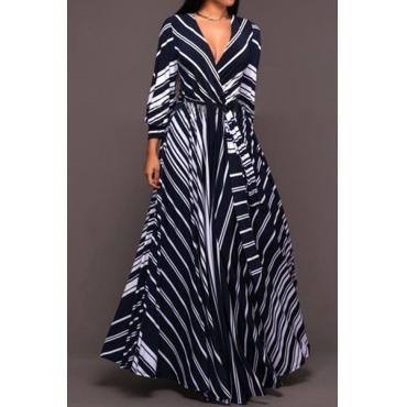 Elegante cuello en V de manga larga de rayas de leche de fibra de longitud vestido de longitud