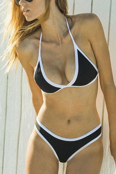 Euramerican Black-white Patchwork Cotton Blends Двухсекционный купальный костюм
