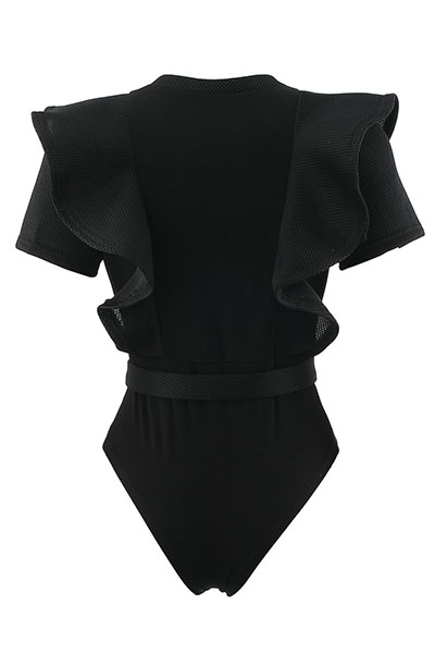 Сексуальная круглая шея с короткими рукавами с прорезиненными черными полиэстеровыми цельными тощими комбинезонами