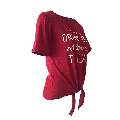 Lazer Rodada pescoço curto mangas letras impressas vinho tinto poliéster T-shirt
