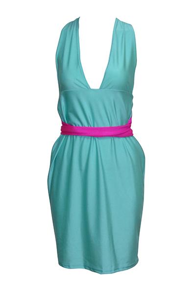Sexy Deep V Neck Sleeveless Backless Light Blue Polyester Sheath Knee Length Dress
