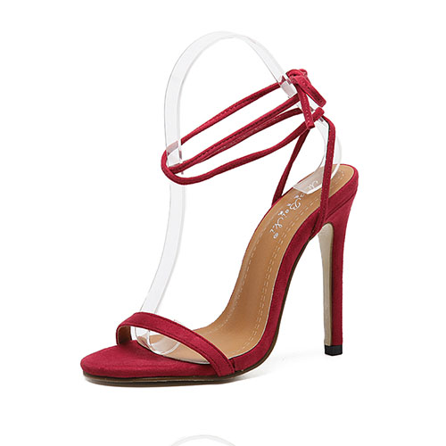 Fashion Pointe Toe Lace-up Hollow-out Super High Heel Red Suede Ankle Strap Sandals
