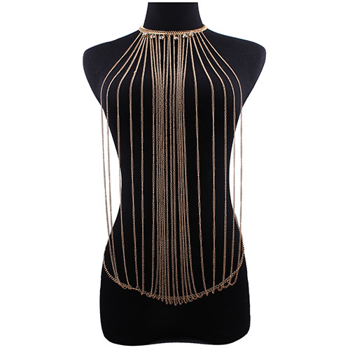 Fashion Tassel Design Hollow-out Gold Metal Body Chain