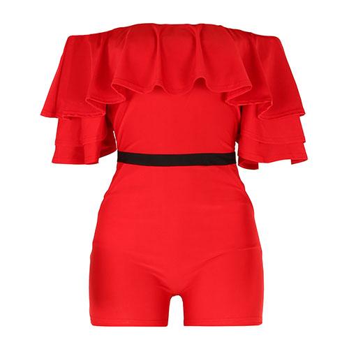 Fashion Dew Shoulder Falbala Design Red Knitting One-piece Skinny Jumpsuits
