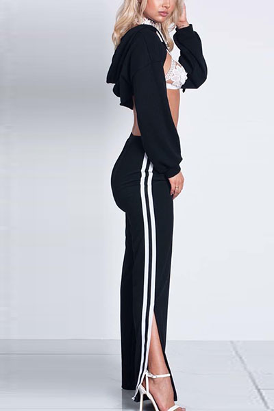 Leisure Long Sleeves Patchwork Black Knitting Two-piece Pants Set