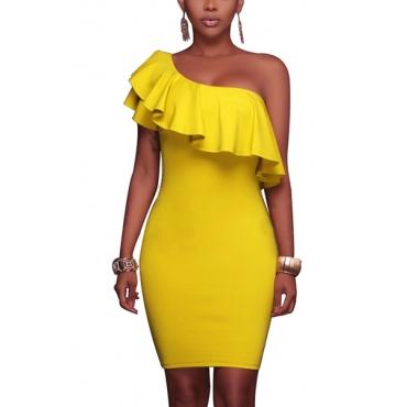 Cotton Fashion Bateau Neck One Shoulder Short Sleeve Pleated Knee Length Dresses