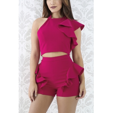 Euramerican Round Neck Backless Red Qmilch Two-piece Shorts Set
