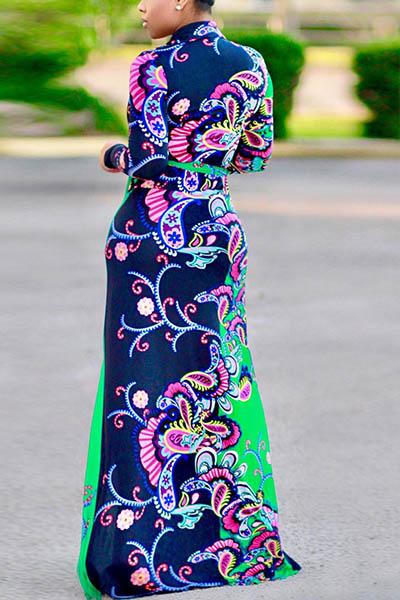 Euramerican V Neck Long Sleeves Floral Print Cotton Floor length Dress