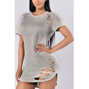 Leisure Round Neck Short Sleeves Hollow-out Grey Qmilch T-shirt