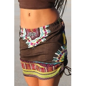 Ethnic Style Elastic Waist Printed Brownness Cotton Blend Mini Skirts