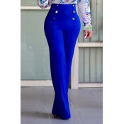 Stylish High Waist Double-breasted Design Blue Pol