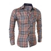 Stylish Turndown Collar Long Sleeves Plaids Khaki Cotton Shirts
