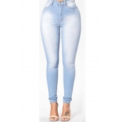 Algodão sólido zíper voar alta skinny calças jeans