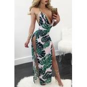 Sexy Deep V Neck Sleeveless Backless White-green Milk Fiber Sheath Ankle Length Dress