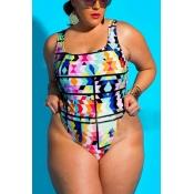 Sexy Geometric Printed Polyester One-piece Swimwear
