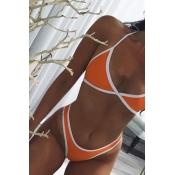 Euramerican Orange-white Patchwork Cotton Blends Двухкомпонентный купальный костюм
