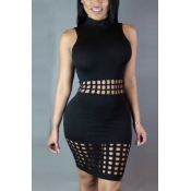 Stylish Mandarin Collar Tank Sleeveless Hollow-out Black Polyester Sheath Knee Length Dress