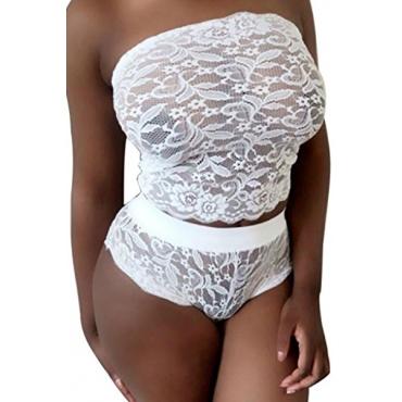 blanco sin tirantes atractivo mosaico hueco-hacia fuera del cordón de dos piezas pantalon corto