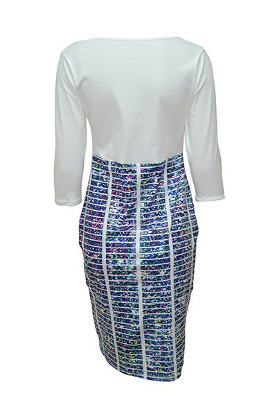 Стильный круглый шею три четверти рукава напечатаны лоскутное синий полиэстер длина оболочки колена платье