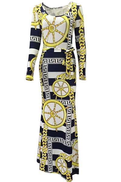 alla moda maniche lunghe collo della barca della stampa digitale abito lunghezza piano Qmilch