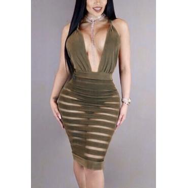 Sexy V Neck Sleeveless See-Through Backless Army Green Polyester Sheath Knee Length Dress