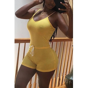 Sexy Spaghetti Strap Yellow Polyester One-piece Skinny Jumpsuits