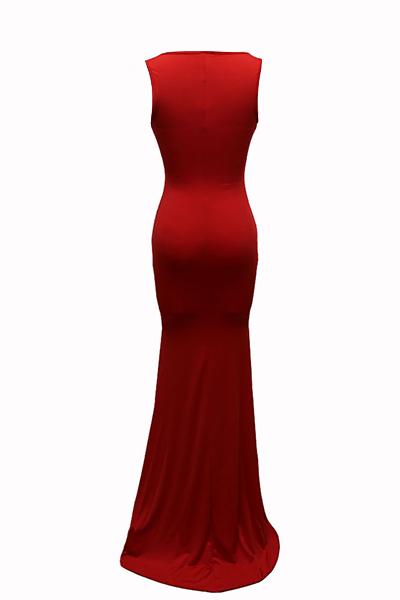 Euramerican em forma de U pescoço sem mangas de algodão vermelho mistura bainha vestido de comprimento do assoalho