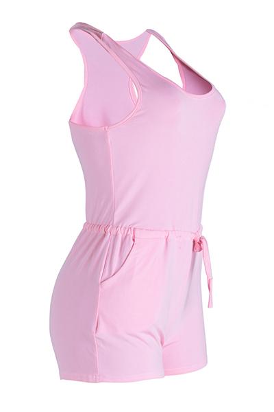 Lazer em forma de U Neck Drawstring Design rosa Qmilch One-piece Skinny Jumpsuits
