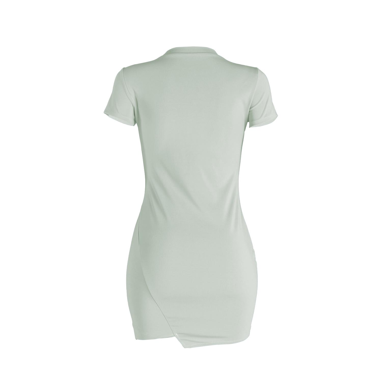 Leisure Round Neck Short Sleeves Broken Holes Light Green Polyester Mini Dress