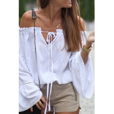 Pullovers Cotton Bateau Neck Long Sleeve Solid Blouses&Shirts