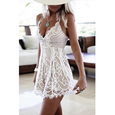 Lace Solid Regular Jumpsuits