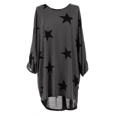 Casual Round Neck Three Quarter Sleeves Five-pointed Star Printing Grey Polyester Mini Dress