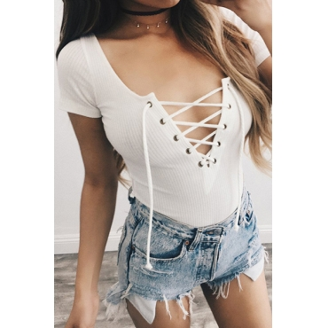Sexy Deep V Neck Short Sleeves Hollow-out White Blending One-piece Skinny Jumpsuits