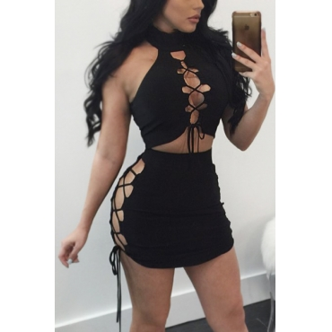Black Polyester Skirt Solid Turtleneck Sleeveless Sexy Two Pieces