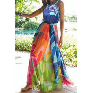 Stylish Sleeveless Printed Cotton Blend  Ankle Length Dress(With Belt)