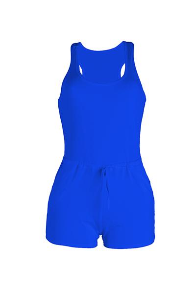 Leisure sin mangas cordón diseño azul poliéster de una sola pieza Skinny Jumpsuits