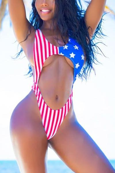 Сексуальный американский флаг Печатный Backless Red Polyester Цельный купальник